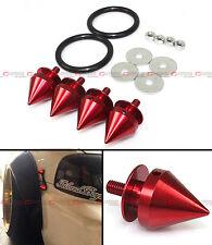 Red JDM Spike Quick Release Fastener For Car Bumpers Trunk Fender Hatch Lids Kit