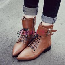 Vintage Womens Lace Up Oxfords Strap Buckle Pointy Toe Military Flat Ankle Boots