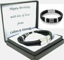 Mens Leather Bracelet Engraved Clasp Personalised Birthday Christmas Gifts