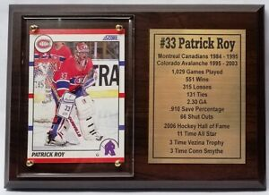Montreal Canadiens Patrick Roy Hockey Card Plaque