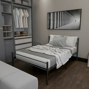 Twin metal platform bed frame with headboard-no box spring needed-easy install