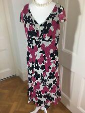 Hobbs, Pink & Black Floral Tea Dress, Cap Sleeve, Bias Cut, Size 14, VGC