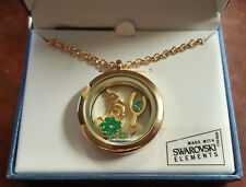 Lucky Good Luck Charms Floating Glass Locket Necklace w Swarovski Elements NIB