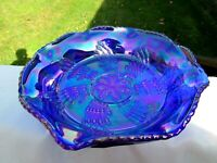 "Fenton 1970's Blue Carnival Glass Butterfly & Berry Fantail Bowl 9""W x 3.25""H"