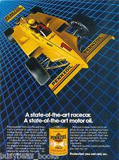 1982 PENNZOIL advertisement, Indy race car, motor oil tin
