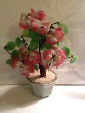 Vintage Jade Stone Flower Plant Pink Petals Tree Vase Handmade for Home Decorate