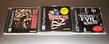 Resident Evil 1 + 2 + 3 Lot ☆☆ Complete w/ MINT CASES ☆☆ - PS1 Playstation 1