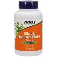 NOW Foods Black Walnut Hulls, 500 mg, 100 Capsules