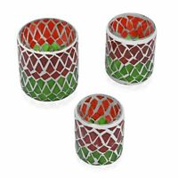 Christmas Decor Gift Set of 3 Red Green Mosaic Geometric Tea Light Candle Holder
