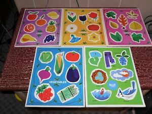 Vintage Lot of 8 Board/Tray Puzzles *Shapes*Colors*Fruits* & More Preschool