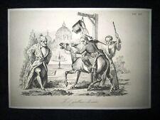 Incisione d'allegoria e satira Papa Gregorio XVI, Mons. Soglia Don Pirlone 1851