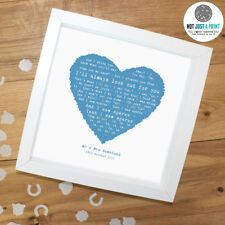 More details for coldplay 'sparks' personalised framed song lyrics heart print valentines day