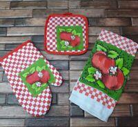 3pc Kitchen Linen Set Apple Blossoms Hand Towel & Potholder & Oven Mitt