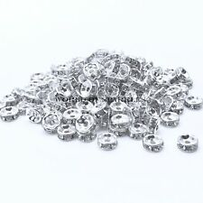 Rhinestone Shamballa Beads Spacers Rondelle Round Bracelet Necklace Watch Silver