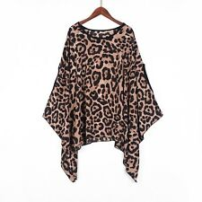PLUS Ladies Leopard Animal Print Batwing Top Blouse Tunic Casual Loose Fit Tops