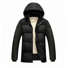 Winter Men's Hooded Stand collar Fleeces Lined Cotton Padded Jacket Quilted D