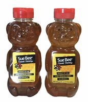 2 Pack Sue Bee Clover Honey Pure Premium Grade A 24oz Bear Squeeze Bottles