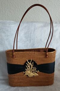 Lisi Lerch Bosom Buddy Bags Charlotte Seashells & Coral Nautical Tropical Brown