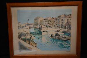 Lithographie Port de Sete par Eric BATTISTA peintre et athlète - Brassens-