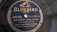 Teddy Powell - 78rpm single 10-inch – Bluebird #B-11039 All Night Long