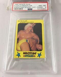 Ric Flair Kerry Von Erich 1986 Monte Gum Wrestling Stars Psa 8 Low Pop 1 panel
