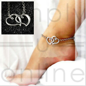 Double Entwined Heart Sliver Adjustable Ankle Chain Anklet