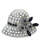 Clear Hat Gray Flower Brooch Pin Necklace Pendant Jewelry Gift for Ladies