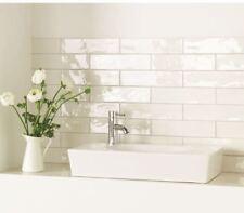 Normandie Handmade Rustic White Gloss Bathroom Kitchen Metro Wall Tiles 7.5 x 30