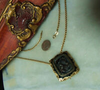 Antique Victorian 10k Mourning Heavy Pendant Brooch Necklace