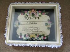 Kristin Parchment Name Meaning Personalized Wooden Shadow Box Wall Room Art