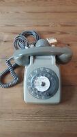 Altes französisches Wählscheiben-Telefon mit Zusatzhörer+Kabel So.co.tel S63