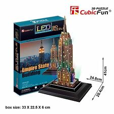 New LED Light Empire State Building 3D Model Paper Jigsaw Puzzle 38 Pieces L503H