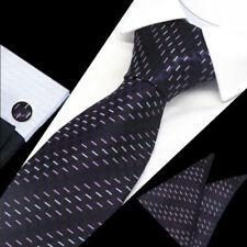 Classic Mens Black Purple Pattern Silk Tie Handkerchief Hanky Cufflinks GIFTSET
