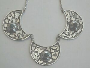 VINTAGE SILVER TURQUOISE ARTS AND CRAFTS NECKLACE   Item A3289