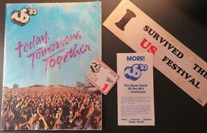 1983 US Festival Concert Program Ticket Flyer Bumper Sticker Bowie Van Halen U2