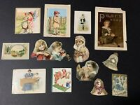 Lot Of 13 Antique Victorian Ephemera Paper Die Cut Scraps~Children Singer Sewing