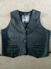 Ladies leather biker waistcoat