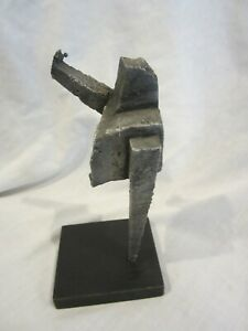 Helen Vander Male Handmade Handcrafted Metal Sculpture on Black Wooden Base (LK)