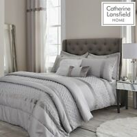 Catherine Lansfield Sequin Cluster Quilt/Duvet Cover Bedroom Collection Silver