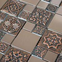 Copper Color Stainless Steel Metal Mosaic Tile For Kitchen Backsplash Wall Decor