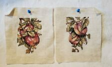 Pair Of Completed Cross Stitch Needlework Pictures Hanging Fruit Apples~Peaches
