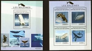 UINEE 2014 LES BALEINES MARINA WHALES SEA FAUNA ANIMALS FISH PESCA STAMPS MNH**