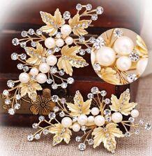 Bridal Wedding Pair Of Crystal Pearl Gold Leaf Design Hair Clip Head Piece