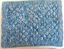 Hand Knitted Baby Blanket 4 ply Beautiful pattern blankets gift boy blue marl