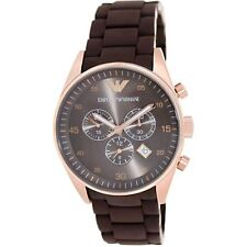 Emporio Armani AR5890 Rose Gold Brown Rubber Chrono Men's SS Sports Watch SALE