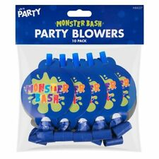 10 PACK BLUE BOYS MONSTER BASH PARTY HORN BLOWERS NOISE BIRTHDAY TOY FILLER