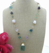 S041706 Natural White Keshi Pearl Necklace Green Fluorite Pendant