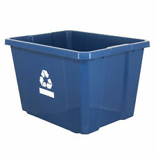 Gracious Living Medium Sized Plastic Curbside 17 Gallon Home Recycling Bin, Blue