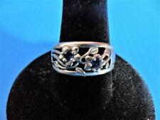 """PRETTY STERLING RING SIZE 7.75 FLOWERS W/ TANZANITE BLUE CENTERS MARKED """"P STER"""""""