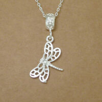 Solid 925 Sterling Silver Dragonfly Necklace Bracelet Floral Bead Charm Pendant